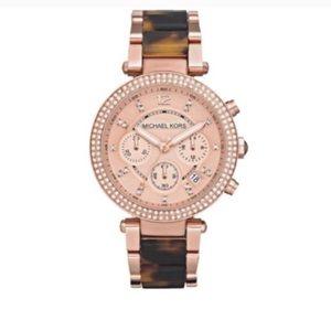 Michael Kors rose gold & tortoise watch